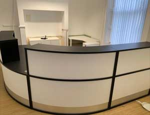reception desk installation for a new office.